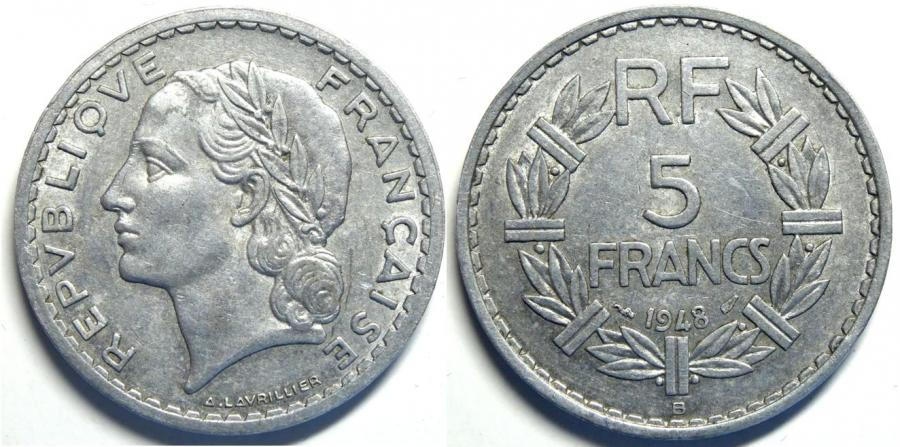 Recto - 5 FRANCS 1948 B LAVRILLIER ALU REF 25