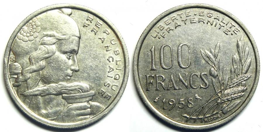 Recto - 100 FRANCS COCHET CHOUETTES 1958 REF 35