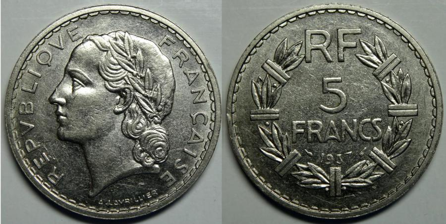 Recto - 5 FRANCS LAVRILLIER 1937 NICKEL REF 40