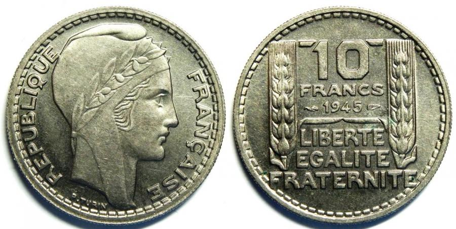Recto - 10 FRANCS TURIN 1945 R COURT NICKEL REF 45