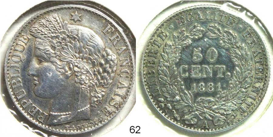 Recto - 50 CENTIMES CERES ARGENT 1881 A REF 62