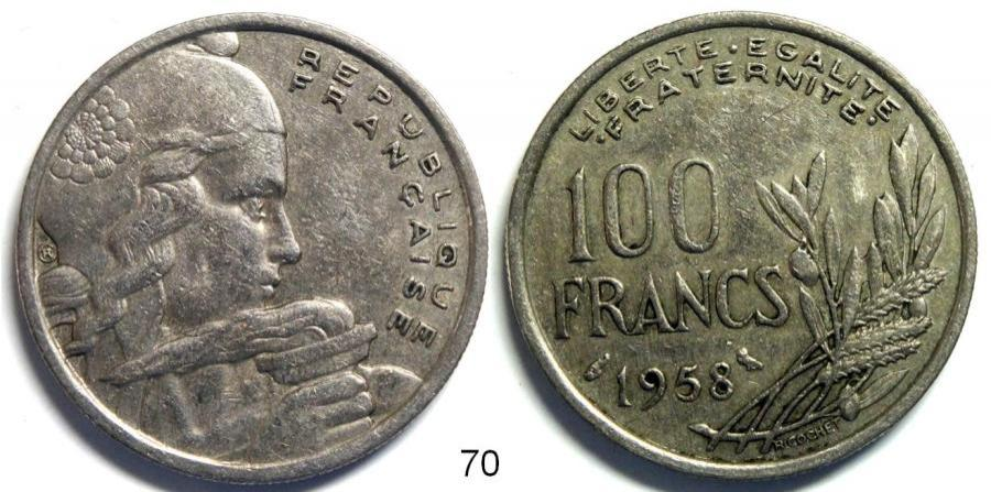 Recto - 100 FRANCS CHOUETTE 1958 REF 70
