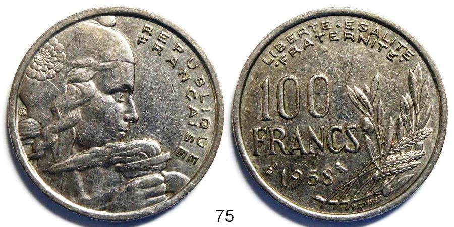 Recto - 100 FRANCS CHOUETTE 1958 REF 75