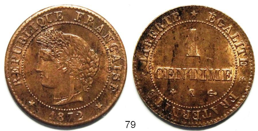 Recto - 1 CENTIME CERES 1872 K REF 79