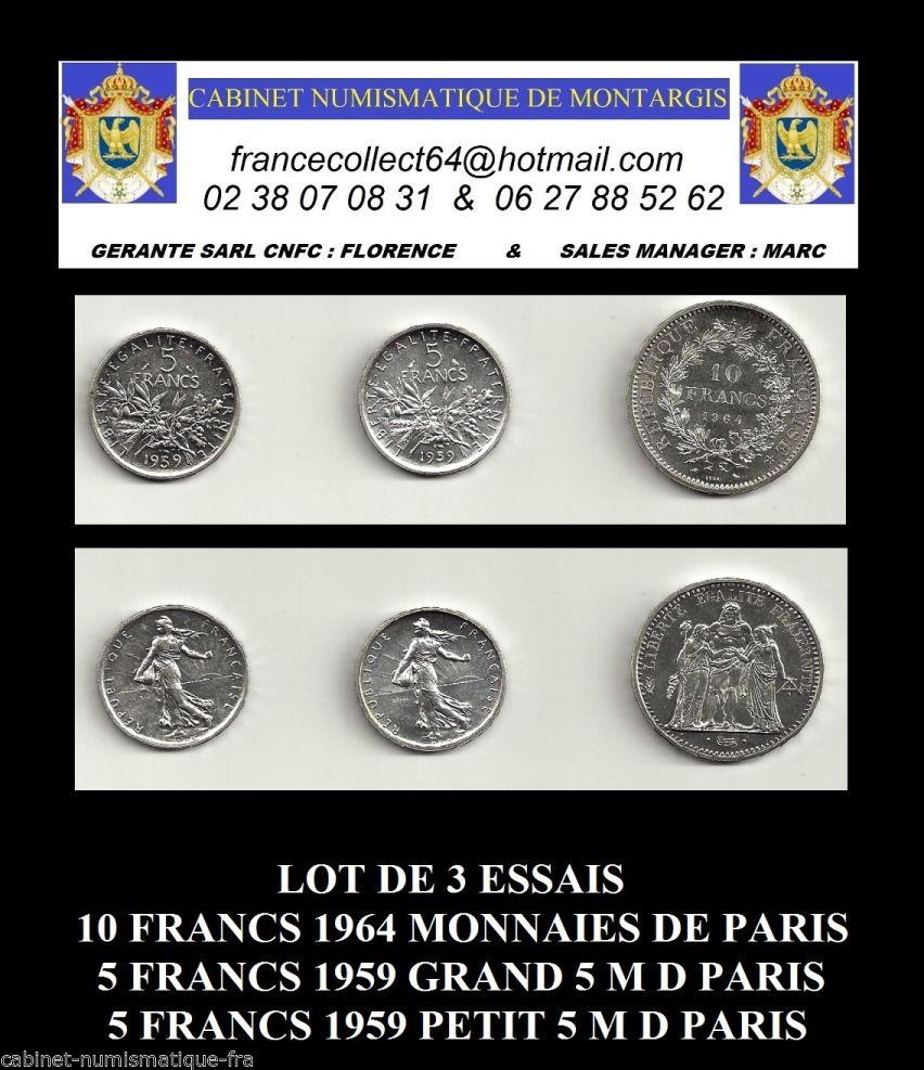 Recto - LOT DE 3 PIECES ESSAIS 10 F 1964 5 F 1959 5 F 1959