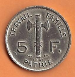 Recto - 5 F PETAIN 1941