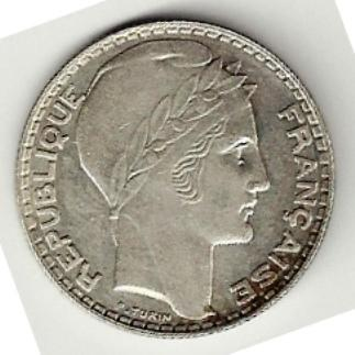 Recto - 10 FRANCS ARGENT TURIN 1937